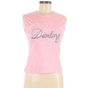 Vintage Diorling Dior Beaded Pink Sleeveless Tank Glitter Rhinestone Heart Logo